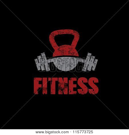 Grunge Kettlebell And Barbell On Black Background