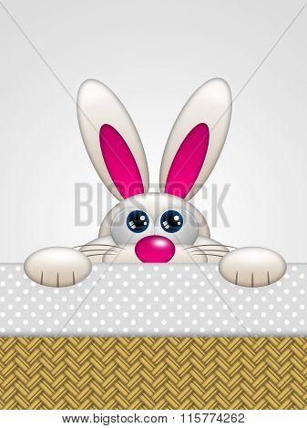 Cartoon Easter Bunny In Basket Looking Up