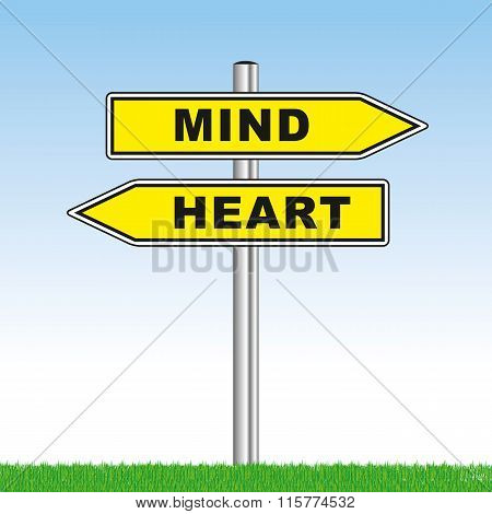 Sign With Mind Or Heart Showing Opposite Directions