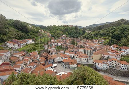 Panoramic View Of Cudillero In Asturias, Spain