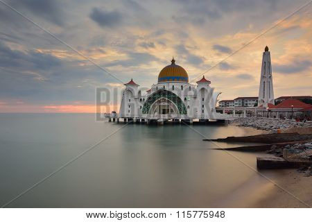 Strait Mosque During Sunset. Long Exposure.