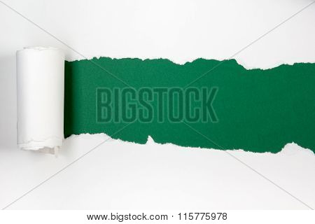 Ripped paper, space for copy. Green background.