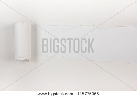 Ripped paper, space for copy. White background.