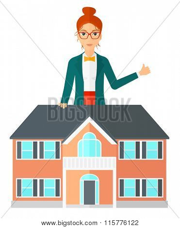 Real estate agent showing thumb up.