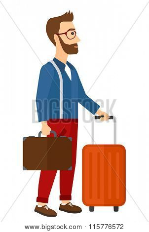 Man with suitcase on wheels and briefcase.