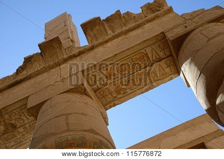 Columns With Ancient  Egyptian Hieroglyphics