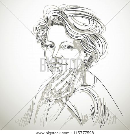 Vector Drawing Of Confident Elegant Woman With Stylish Haircut. Black And White Portrait