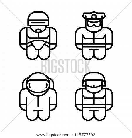 Set Of Toy. Astronaut, Robot, Soldier, Policeman