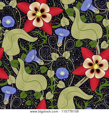 Vector Seamless Vintage Floral Pattern. Flowers On A Black Background