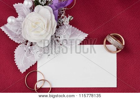 Wedding Rings And Satin Rose With Card