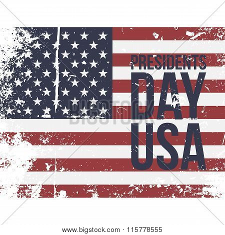 Presidents Day USA Text on colorful grunge Flag
