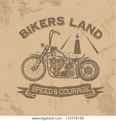 Grunge Vintage Poster Bikers Land With Motorbike