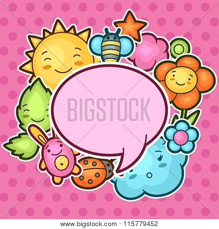 Cute child background with kawaii doodles. Spring collection of cheerful cartoon characters sun, clo