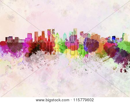 Mississauga Skyline In Watercolor Background