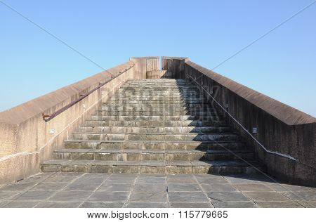 Scenic stair viewpoint against the blue sky