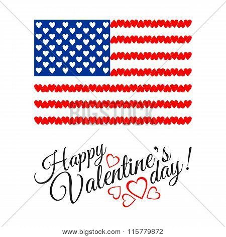 American Flag of Love isolated on white background.