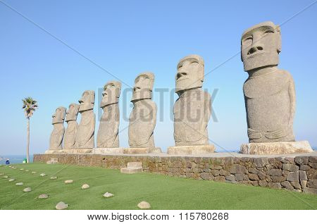 Row of moai in Kyushu