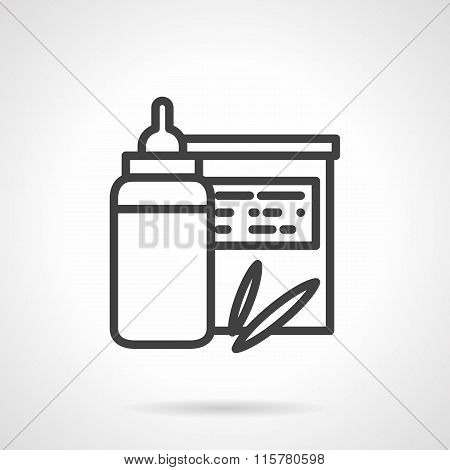 Baby organic food vector icon. Milk bottle