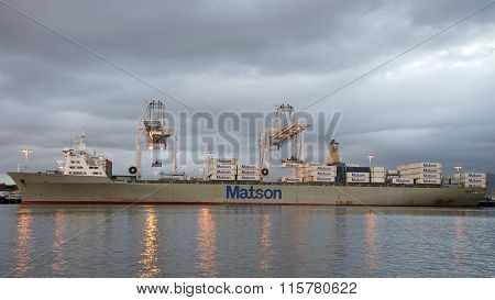 Matson Cargo Ship MANOA loading at the Port of Oakland