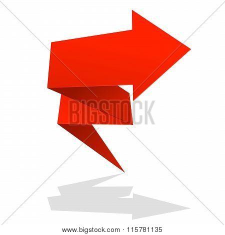 Red Folded Arrow Icon - Market Rise Symbol