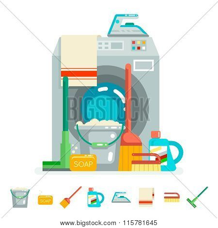 Cleaning washing concept supplies icons  flat design vector illustration