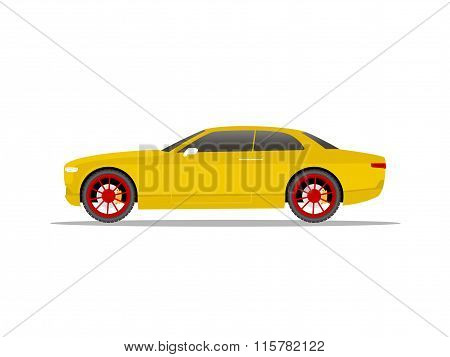 Yellow Sports Car Coupe With Red Wheels