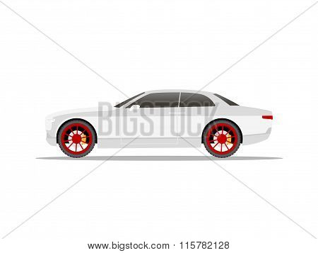 White Sports Car Coupe With Red Wheels