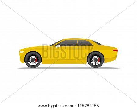 Yellow Sports Car Coupe Yellow Black Wheels