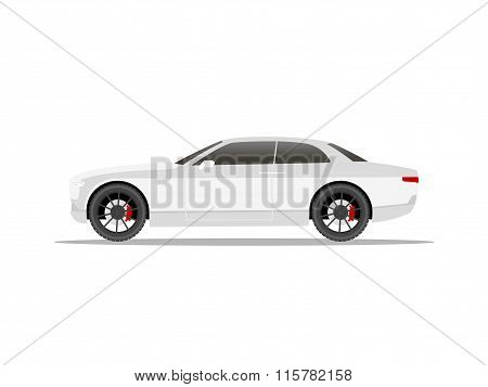 White Sports Car Coupe With Black Wheels