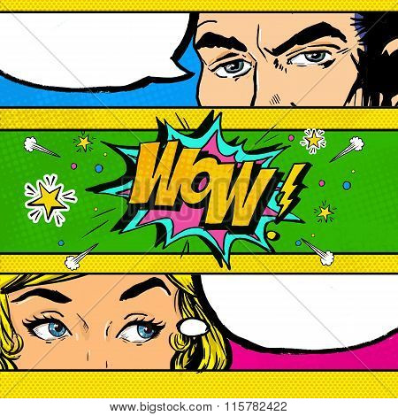 Pop Art comic dialog. Pop Art couple. Pop Art Love. Advertising poster.