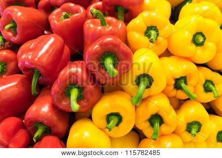Red And Yellow Bell Peppers (capsicum) Background