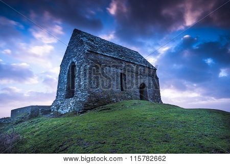 Rame Head Lonely Chapel In Cornwall, Uk