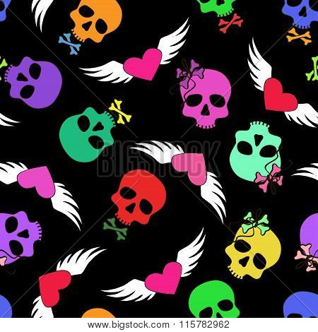 Seamless Pattern Of Funny Skulls And Winged Hearts