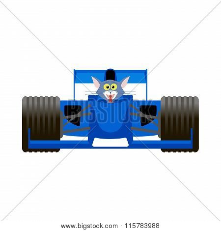 Cat Driving A Blue Racing Bolide Car