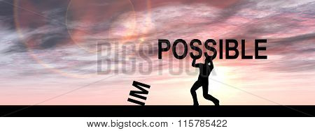 Concept conceptual 3D human man or businessman, black silhouette lifting an impossible or possible text at sunset banner