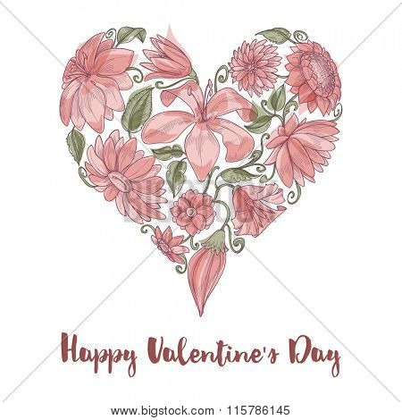 Valentine Day floral heart shape