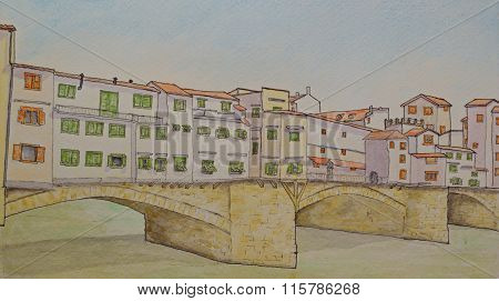 Ink and Watercolour painting of the Ponte Vecchio Florence Italy
