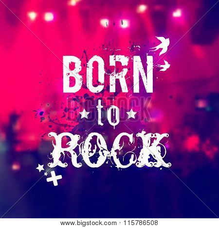 Vector Blurred Background With Rock Stage And Crowd.