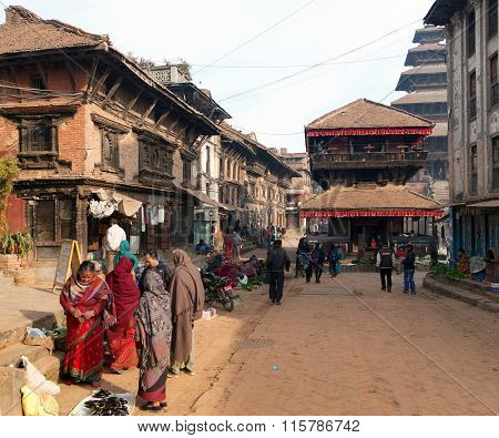 Temples Of Durbar Square With People In Bhaktapur