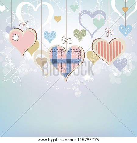 Hearts background in pastel colors