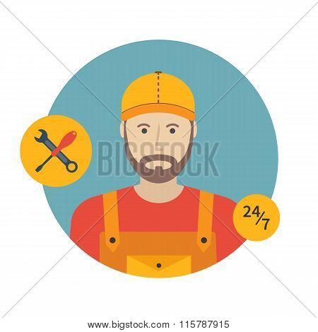 Repairman Icon. Flat Design, Vector Illustration.