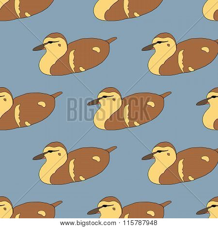 Seamless pattern with cute ducklings
