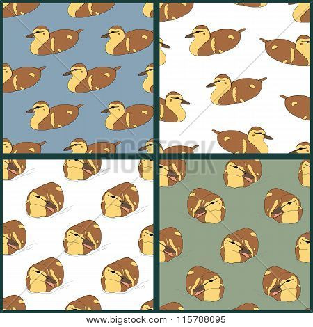 Set of four seamless patterns with cute ducklings