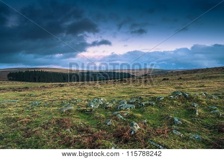 Dramatic Clouds Over Wild Landscape In Devon, Uk