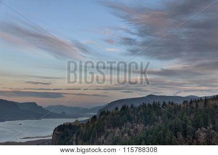 Full Moon Rising Over Columbia River Gorge