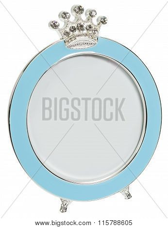 Blue Photo Frame Inlaid Diamonds In Form Of Round