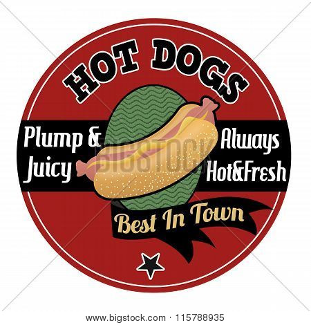 Hot Dogs Emblem, Label Or Stamp
