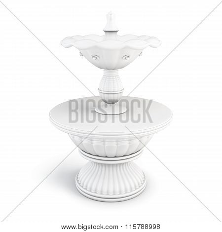 Two-tiered fountain on a white background.