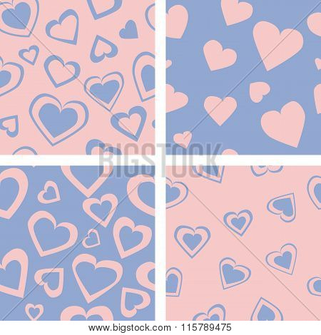 Colored hearts - seamless vector pattern