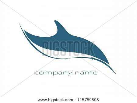 dolphin vector logo ocean sea wave label